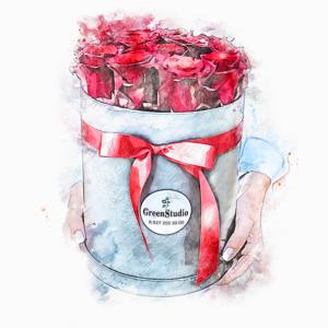 Цветы в коробках и корзинах